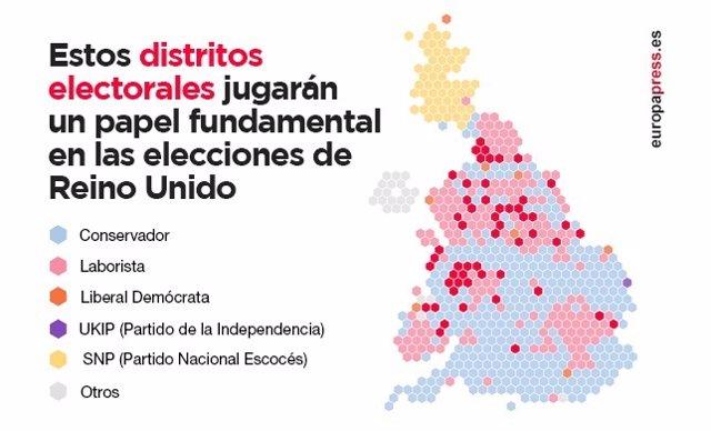 Mapa de resultados elecciones Reino Unido en 2015