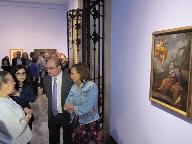 Lambán, Mayte Pérez y expertas Prado con Goya ''Éxtasis de San Antonio Abad'