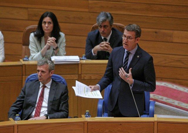 El presidente de la Xunta en el pleno del Parlamento de Galicia.