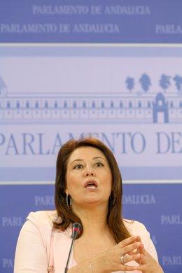 La portavoz parlamentaria del PP-A, Carmen Crespo, en rueda de prensa