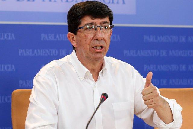 Juan Marín (Cs), en rueda de prensa en el Parlamento andaluz