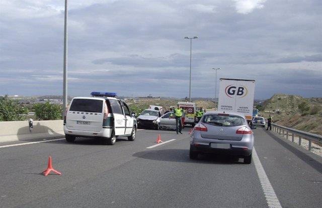 Accidente De Tráfico Ocurrido En Una Vía De Alicante