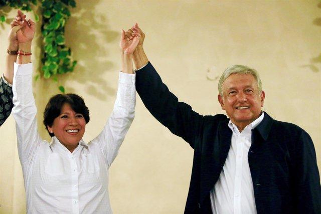 Los opositotes mexicanos Delfina Gomez y Andrés Manuel López Obrador