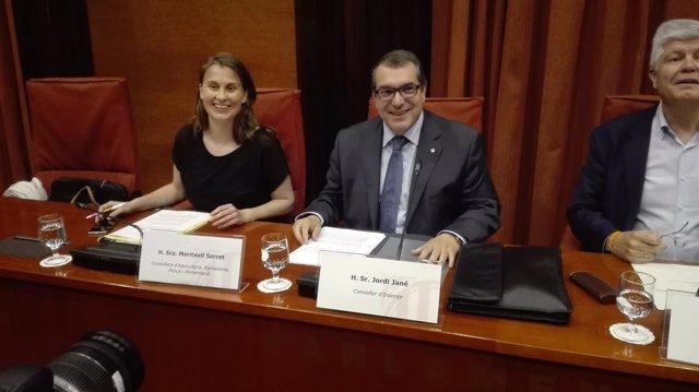 Los consellers M.Serret y J.Jané en el Parlament