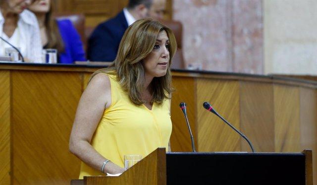 La presidenta de la Junta, Susana Díaz, este miércoles en el Parlamento