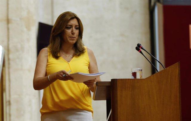 La presidenta de la Junta, Susana Díaz, este miércoles en el Parlamento andaluz