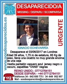 Cartel de SOS Desaparecidos de Ignacio Echevarría