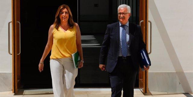 Susana Díaz, este miércoles a su llegada al Parlamento andaluz