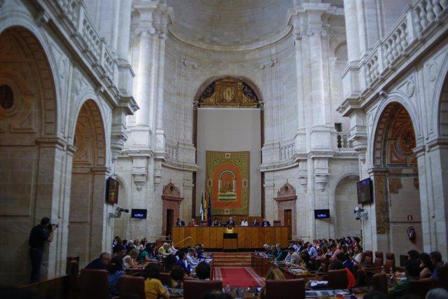 Susana Díaz, en el Parlamento andaluz este miércoles