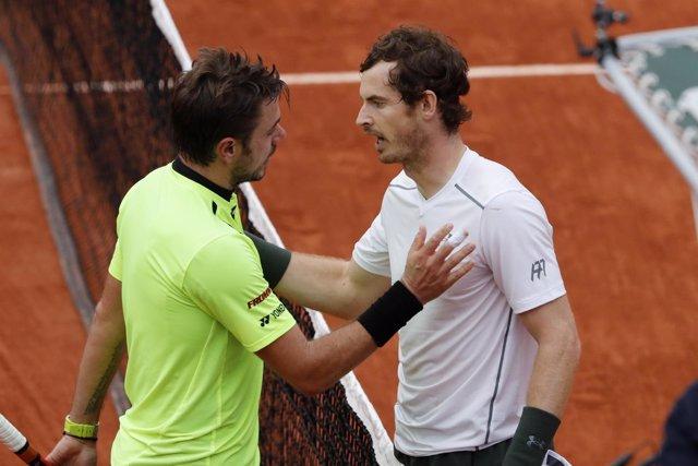 El tenista escocés Andy Murray y el suizo Stanislas Wawrinka
