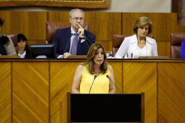 La presidenta de la Junta de Andalucía, Susana Díaz,  en el Parlamento andaluz