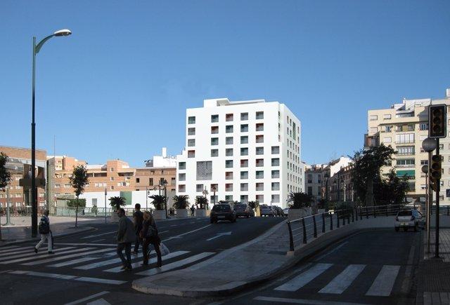 Recreación del futuro hotel Vincci diseñado por Moneo para Promociones Braser