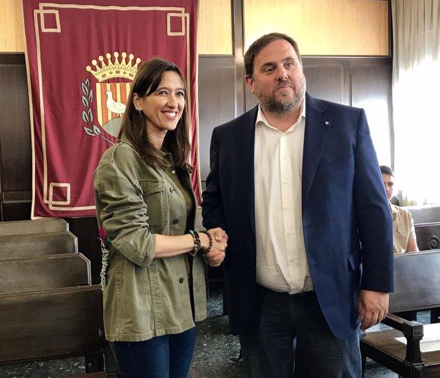 La alcaldesa Núria Parlon (PSC), el vicepte. Oriol Junqueras (ERC)