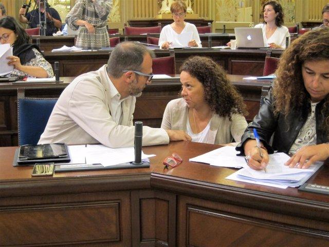 Biel Barceló y Catalina Cladera conversan momentos antes del pleno del Parlament