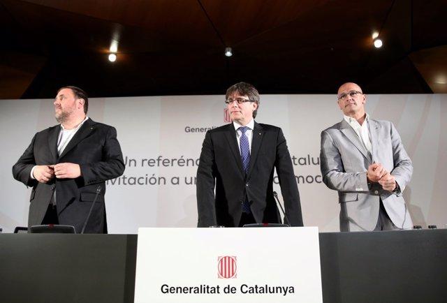 Puigdemont, Junqueras y Romeva hablan en Madrid sobre el referendum
