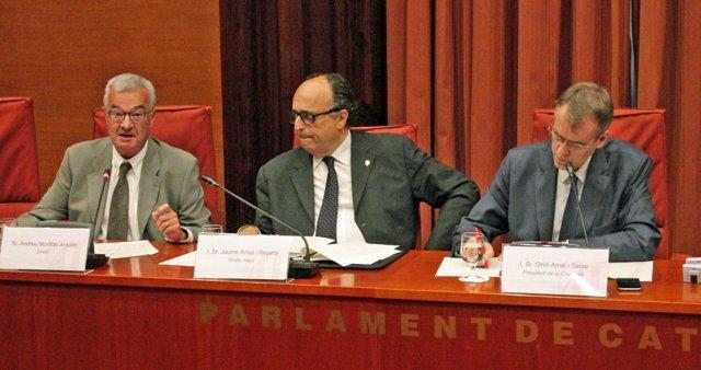 El síndic Andreu Morillas; el síndic major, Jaume Amat, i el síndic Oriol Amat