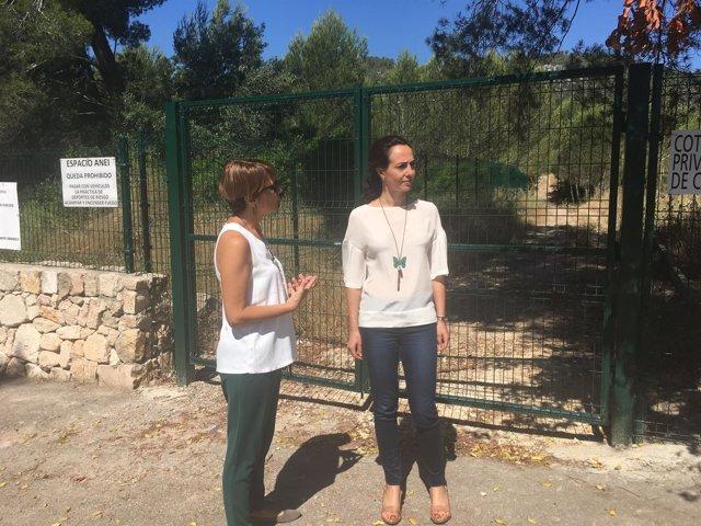 Margalida Durán y Lourdes Bosch en el bosque de La Vileta