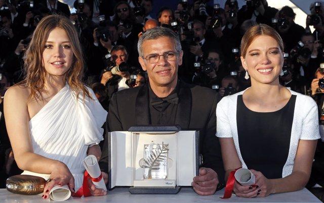 Lea Seydoux, Adele Exarchopoulos Y Abdellatif Kechiche En El Festival De Cannes