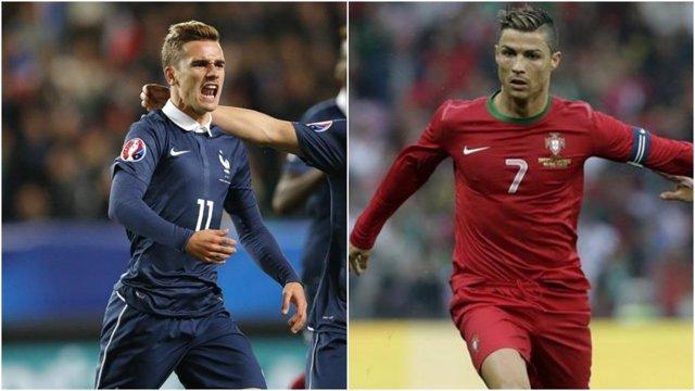 Griezmann (Francia) y Cristiano Ronaldo (Portugal)