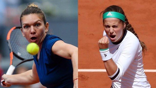 Simona Halep y Jelena Ostapenko en Roland Garros 2017. Final femenina.