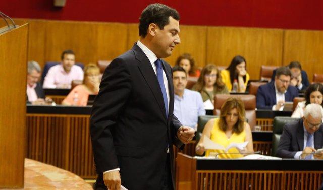 Juanma Moreno, en el debate en el Parlamento andaluz este miércoles
