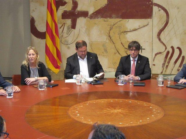 N.Munté, O.Junqueras y C.Puigdemont en el Consell Executiu