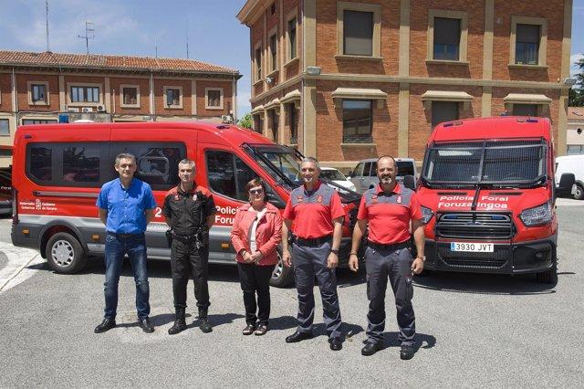 Beaumont, junto con responsables de Interior y Policía Foral.