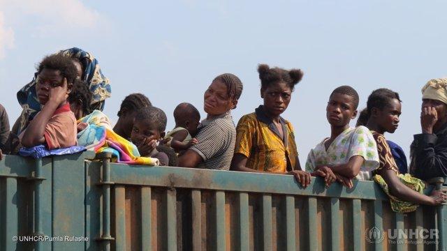 Refugiados congoleños procedentes de Kasai en Angola