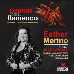 Cartel de la actuación de Esther Merino en Calamonte