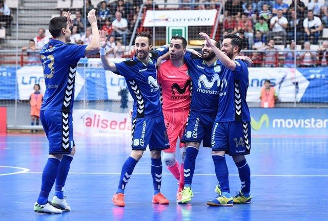 Jugadores del Movistar Inter celebran un gol