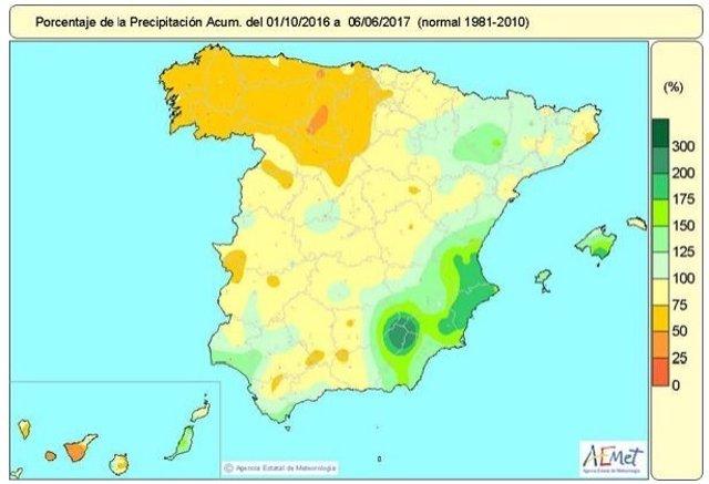 Distribución de las lluvias acumuladas desde octubre de 2016 a junio 2017