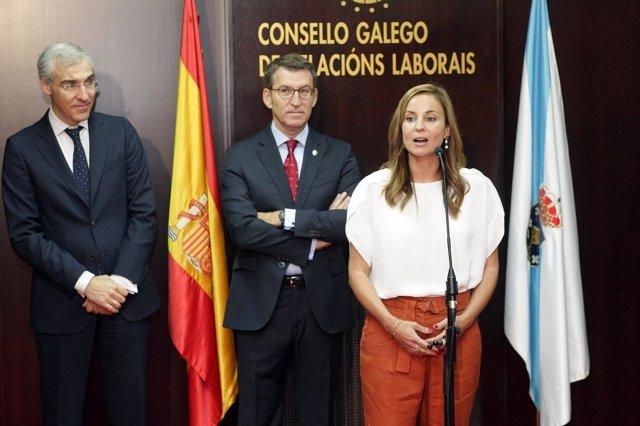 El presidente, Alberto Núñez Feijóo, en la toma de posesión de Verónica Martínez