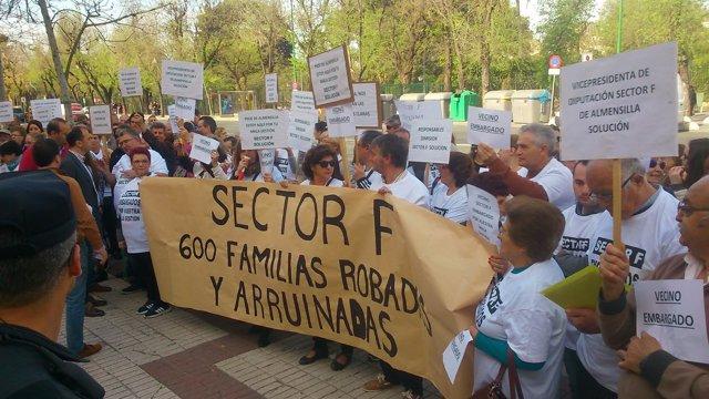 Protesta de los parcelistas del Sector F.