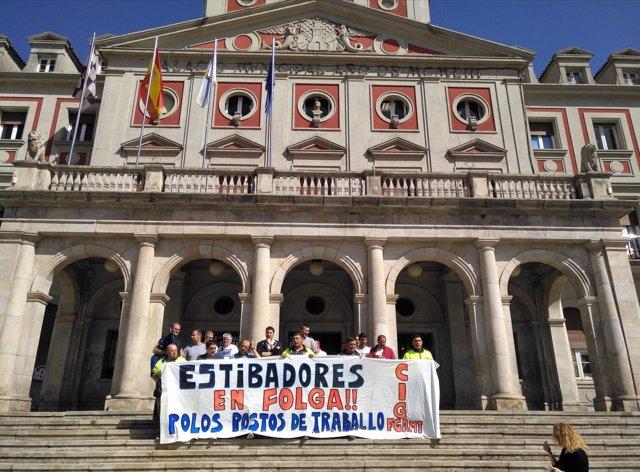 Protesta de la estiba en Ferrol