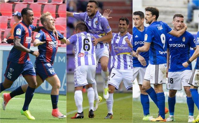 Huesca Valladolid Oviedo collage montaje ascenso