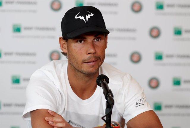 Rafa Nadal en rueda de prensa de Roland Garros