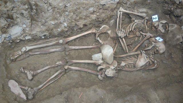 Los restos exhumaados en Lintzoain
