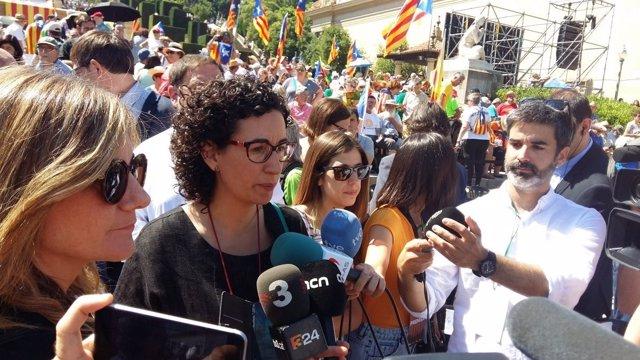La portavoz de JxSí, Marta Rovira, en Montjuïc.