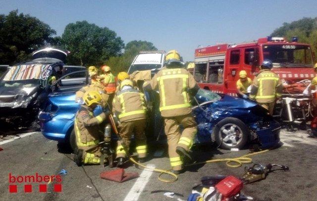 Accidente de tráfico en la C-35 en Llinars del Vallès (Barcelona)