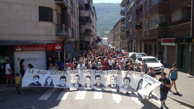 """Manifestación en contra de la """"dispersión"""" de los detenidos de Alsasua"""