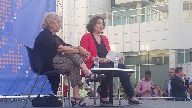 Manuela Carmena y Ada Colau, alcaldesas de Madrid y de Barcelona