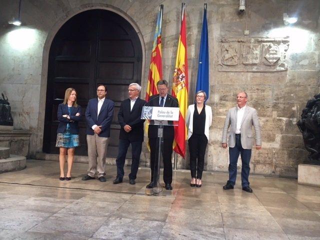 Ximo PUig, Joan Ribó, Soler y Salvador anuncian el desbloqueo de la T2