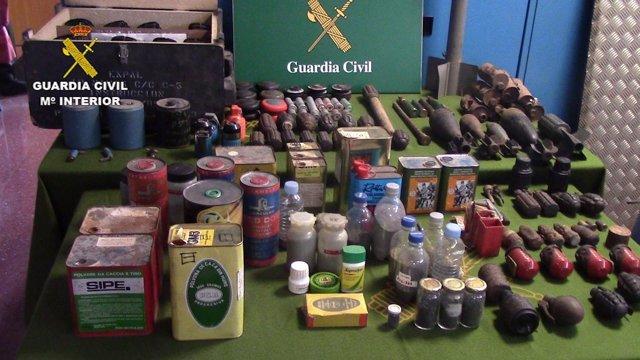 Armas recuperdas en Sant Celoni por la Guardia Civil