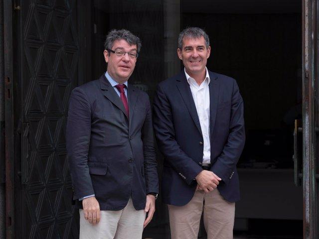 El ministro Álvaro Nadal y el presidente de Canarias, Fernando Clavijo