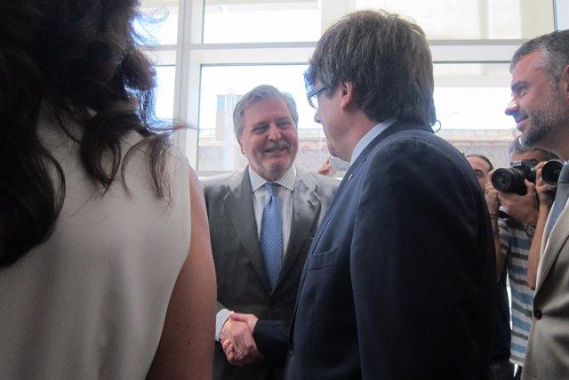 Ministro Í.Méndez de Vigo,pte.C.Puigdemont,conseller Santi Vila