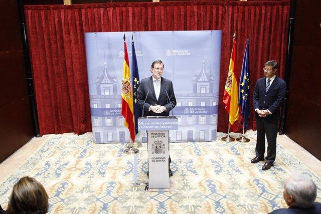 Rafael Catalá y Rajoy en la inauguración de la Oficina de Gestión de Activos