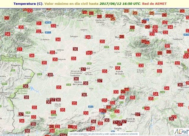 Temperaturas máximas registradas en Castilla y León