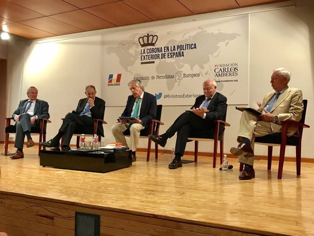 Los exministros Solana, Piqué, Moratinos y García-Margallo