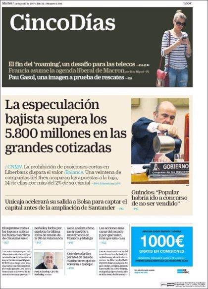 Las portadas de los periódicos económicos de hoy, martes 13 de junio