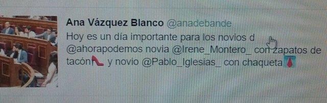 Tuit de Ana Belén Vázquez